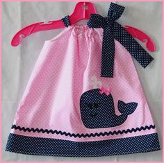 Super Cute Pink and Navy Super Cute Whale by LilBitofWhimsyCoutur, $24.00