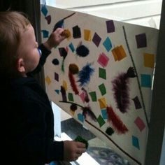 For the Love of Learning: Toddler Collage A.K.A. Sticky Wall Art and Lots of  other Toddler activities you can make for free or cheap!