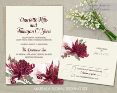 Bohemian Wedding Invitation Fall Wedding by NotedOccasions on Etsy