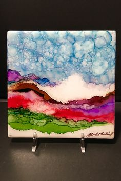 """Morning Fog, An Original 6""""x 6"""" Ceramic Tile, Hand Painted OOAK Alcohol Ink with Waterproof resin and cork backing by YakiArtist by YakiArtist on Etsy"""