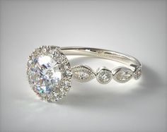 53062 engagement rings, halo, 14k white gold marquise and round brilliant diamond halo engagement ring item - Mobile