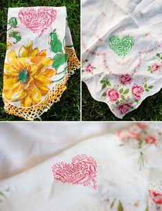 Handkerchief Save the Date. www.vintageandlace.com