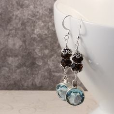 Gorgeous Aquamarine and Smoky Quartz Earrings by symphonyjewels