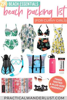 What to Pack for a Beach Vacation: the Curvy Girl's Beach Vacation Packing List Beach Vacation Packing List, Packing List For Travel, Beach Trip, Packing Lists, Beach Girls, What To Pack, Travel Items, Travel Wardrobe, Travel Advice