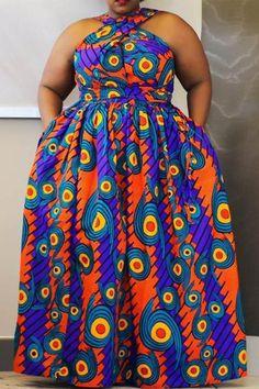 Ericdress Plus Size Floor-Length Sleeveless African Fashion High Waist Dress at Diyanu Ankara Styles For Women, African Dresses For Women, African Print Dresses, African Print Fashion, African Attire, African Fashion Dresses, Plus Size Dresses, Plus Size Outfits, Looks Plus Size