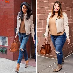 Katie Sturino, the founder of The Style and Megababe, has continued to recreate celebrity looks, proving that star style is attainable at any size. Fall Fashion Outfits, Curvy Outfits, Star Fashion, Dress Like Celebrity, Celebrity Look, Plus Size Fall Outfit, Plus Size Outfits, Curvy Girl Fashion, Plus Size Fashion