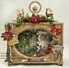 shadow box, in a plain clock body; many layers- tells all her how-tos. Hello, lovely to have you stop by to see my DT post for A Vintage Journey today. Rustic Christmas, Christmas Art, Christmas Projects, All Things Christmas, Handmade Christmas, Vintage Christmas, Christmas Decorations, Christmas Ornaments, Altered Art Christmas