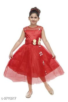 Frocks & Dresses Kid's Girl's Dress Fabric:  Silky Net & Taffeta Sleeves: Sleeves Are Not Included Size: Age Group (8 - 9 Years) - 32 in Age Group (9 - 10 Years) - 34 in Type: Stitched Description: It Has 1 Piece Of Kid's Girl's Dress  Work: Net Work Country of Origin: India Sizes Available: 8-9 Years, 9-10 Years   Catalog Rating: ★4 (225)  Catalog Name: Fabulous Kid's Girl's Dresses Vol 12 CatalogID_367142 C62-SC1141 Code: 343-2710217-858