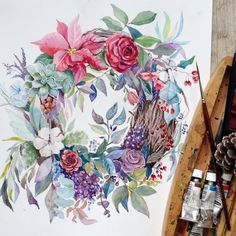 """""""Я слегка увлеклась В эту субботу в студии @arttsapko мы будем ️ рисовать новогодний венок с натуры. Настоящую цветочную композицию нам предоставит…"""""""