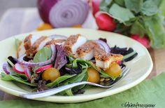 Gluten Free Spinner: Spring Mix Salad with Chicken Cutlet