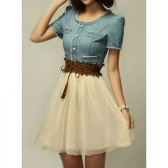 Elegant Scoop Neck Short Sleeve Denim Splicing Chiffon Dress With Belt For Women