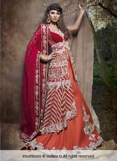 Red and orange contemporary bridal look by khushboos, indian wedding
