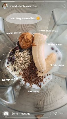 Healthy Smoothies, Healthy Drinks, Healthy Snacks, Easy Smoothie Recipes, Good Healthy Recipes, Breakfast Snacks, Vegan Breakfast, Breakfast Ideas, Aesthetic Food