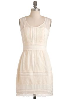 The Sweeter the Buttercream Dress - Mid-length, Cream, Lace, A-line, Sleeveless, Spring, Casual, Party, Vintage Inspired, 20s, 30s, French / Victorian