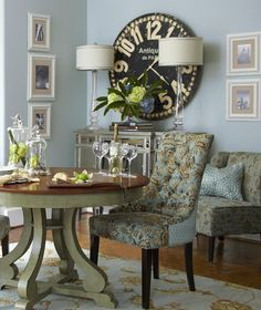 Clocks make great focal points when contrasted against the colors of a room