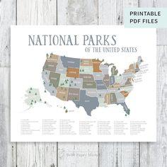 "US National Parks Map, natural earthtones Explorer Nursery, Wilderness Decor, Kids Play Room Printable (20"" x 16"")"