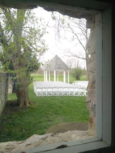A sample wedding ceremony set up as seen from inside the Coach House at Ruthven Park's beautiful outdoor gazebo, surrounded by historic stone walls, groomed gardens, and blossoming trees. Dusty Rose Wedding, Wedding Dresses With Flowers, Save The Date Pictures, Outdoor Gazebos, Photo Booth Backdrop, Wedding Rentals, Wedding Photography Poses, Elegant Wedding Invitations, Wedding Ceremony