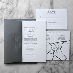 Letterpress Wedding Invitation Suite (Main Invite,  RSVP and Wedding Map) (50 Pieces)