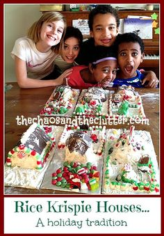 Rice Krispie Houses...a Holiday Tradition at The Chaos and The Clutter (a gluten free alternative to gingerbread)