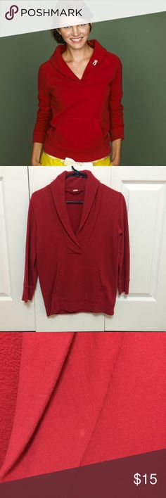 J.Crew fleece shawl collar popover Bright red, cozy popover in sweatshirt material with a trendy shawl collar and kangaroo pocket. 3/4 sleeves. Hits at high hip. Small spot on collar that would probably come out with a good wash. A classy, updated version of your favorite sweatshirt! J. Crew Tops Sweatshirts & Hoodies