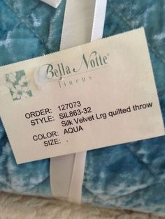 Bella Notte Quilted Velvet/Satin Personal Throw Blanket in Aqua