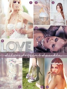 Sequins and glitter wedding inspiration board from www.lovemydress.net.