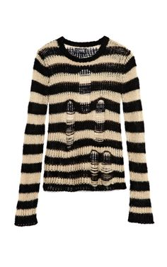 Black & Ivory Ripped Sweater by Tripp NYC