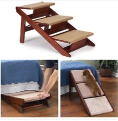LOVE these dog stairs. Pet step system for skittish pets that won't use pet steps! Innovative design converts steps into an easy-to-use ramp to make it effortless for pets to reach sofas, beds, and more. Sturdy mahogany-finished pine frame holds pets up to 130 lbs. #dogs #gift #bedroom #easy #need #puppy afflink