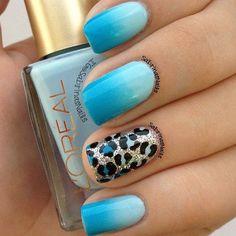 Blue ombre nails/leopard print