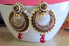 Chandelier Earrings Jhumka bollywood Indian by RumiCollections, Indian Earrings, Indian Jewelry, Beaded Earrings, Indian Bangles, Indian Accessories, Bridal Accessories, Bridal Jewelry, Bollywood Jewelry, Chandelier Earrings