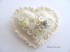 Felt Button Heart Pin. $25.00, via Etsy.