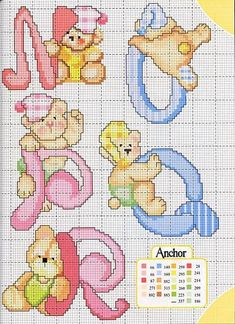 Alfabeto a punto croce con gli orsetti, schemi / Cross stitch alphabet with teddy bears, free patterns