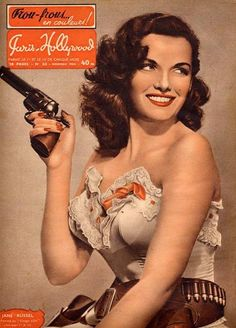 One of the original pinup girls: Jane Russell with a pistol #bangbang #panpan