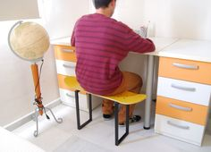 Skateboard Stool / Bench , Yellow - Gifts for son or daugther skateboarders for bedroom or study