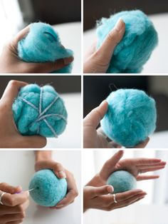How to make a baby rattle - felting a ball