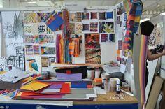 Weaver's desk in the textile studio.Bath School of Art and Design UK