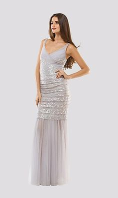 Horizontally Pleated Prom Gown With Sheer Skirt 8bd3e2f30
