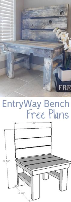 DIY EntryWay Bench - Woodworking Plans