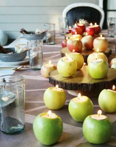 Apple candle holders | apple votive holders | apple crafts | fall decorating | autumn tablescape