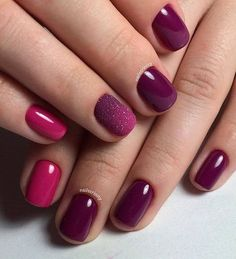 Burgundy and deep pink nails