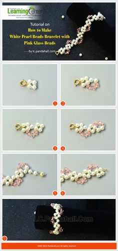 Tutorial on How to Make White Pearl Beads Bracelet with Pink Glass Beads