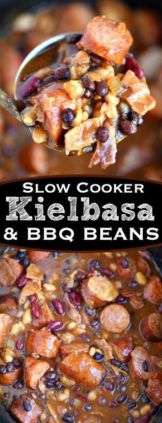 Slow Cooker Kielbasa and Barbecue Beans is the perfect chilly day recipe! Made with three different beans, molasses, bacon, and kielbasa - it's pure comfort food! // Mom On Timeout (Paleo Slow Cooker Recipes) Slow Cooker Kielbasa, Crock Pot Slow Cooker, Crock Pot Cooking, Slow Cooker Recipes, Cooking Recipes, Crock Pots, Healthy Recipes, Crock Pot Sausage, Healthy Tips