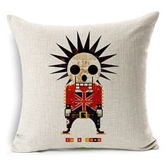 Chicozy Cotton Linen Fashion Trend MrZombie Skull Pillow Cover Sofa Cushion Cover Square Home Decration Pillowcase 177inch x 177inch >>> More info could be found at the image url.Note:It is affiliate link to Amazon. #love
