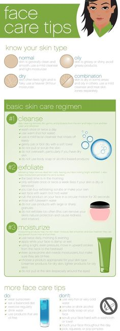 3 Face Skin Care Tips - Do and Dont Infographic. #SkinCare, #Tips, #ClearSkin http://www.howtogetridofacnescar.com/face-skin-care-tips/