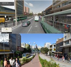 Before and after: MOVE BRT revamped two main streets of Belo Horizonte's downtown area. Photo credit: Luisa Zottis, EMBARQ Brasil