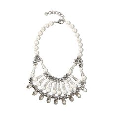 Faux pearl & gem collar necklace