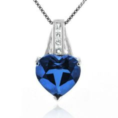 7.50 Carat Blue & White Sapphires Heart Pendant in Sterling Silver with Chain Netaya. $36.95. Save 74%!