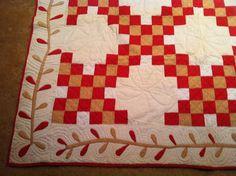 Antique Century New York Handmade Quilt Applique Patchwork 78 x Old Quilts, Antique Quilts, Vintage Quilts, Quilting Frames, Border Ideas, Primitive Antiques, Lost Art, Red Paint, Rug Hooking