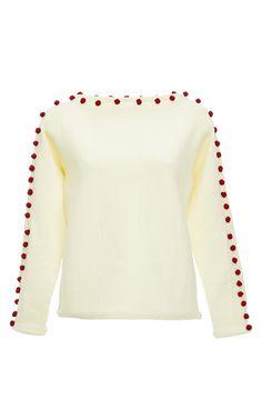Cream Bobble Boatneck Sweater by TRADEMARK for Preorder on Moda Operandi