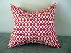 One Coral and White Lattice Pillow
